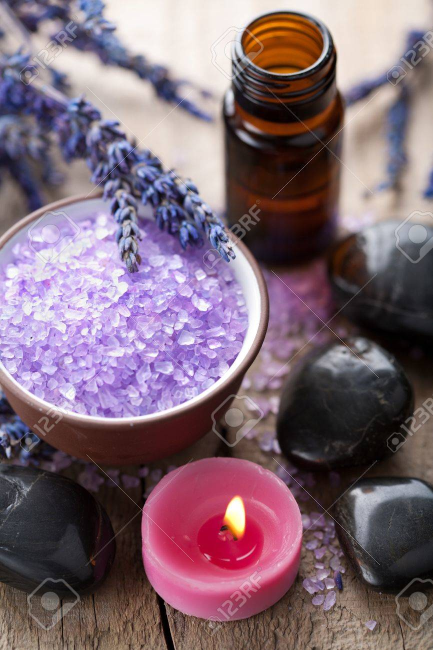 herbal salt lavender and spa stones Stock Photo - 11037810