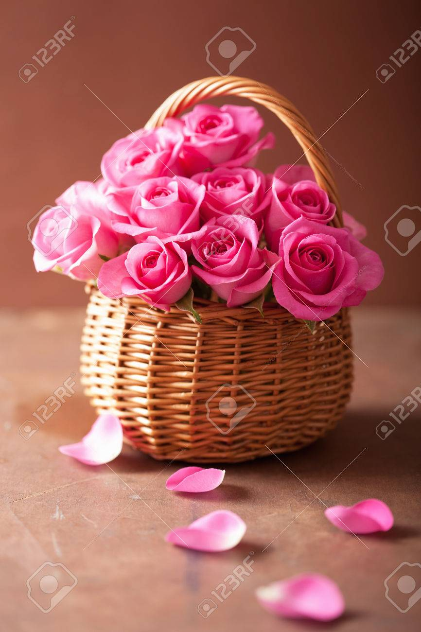Beautiful Pink Roses Bouquet In Basket Stock Photo Picture And