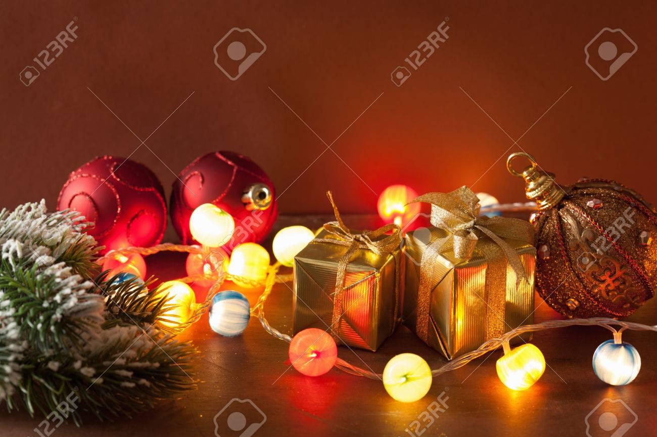 Christmas Lanterns.Burning Christmas Lanterns And Decoration Background