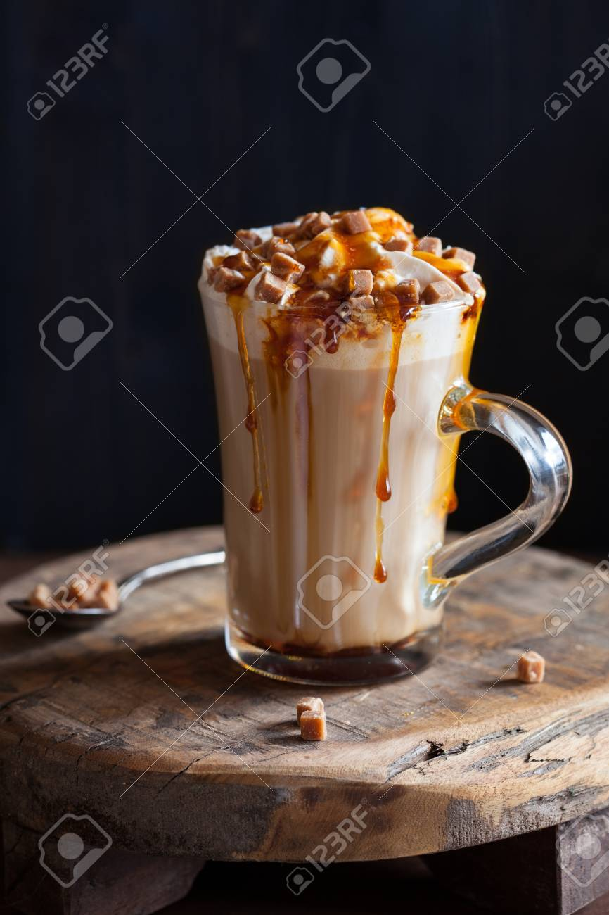 cafe latte with whipped cream and caramel - 113765504