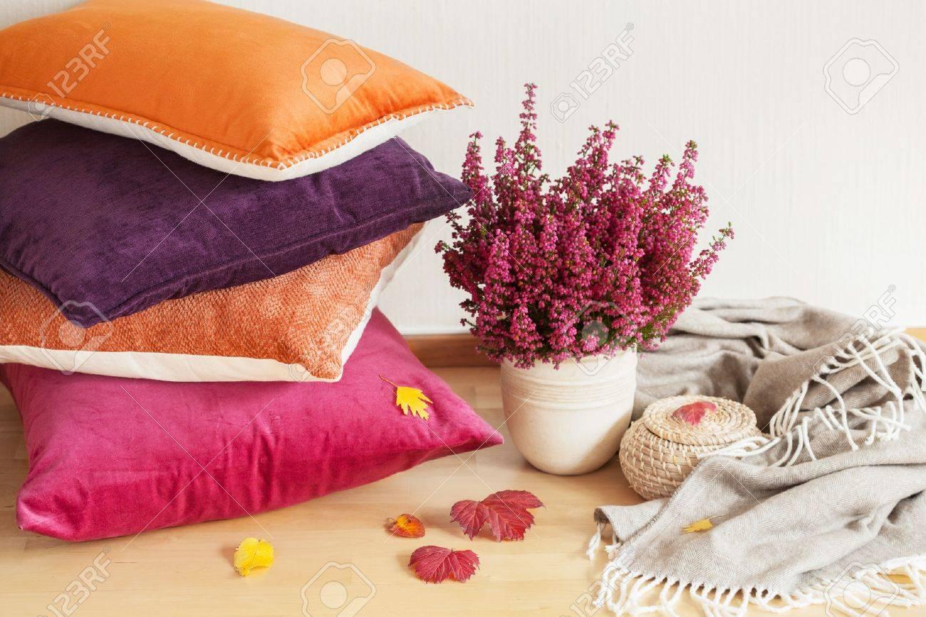 Bunte Kissen Werfen Gemutlich Nach Hause Herbst Stimmung Blume