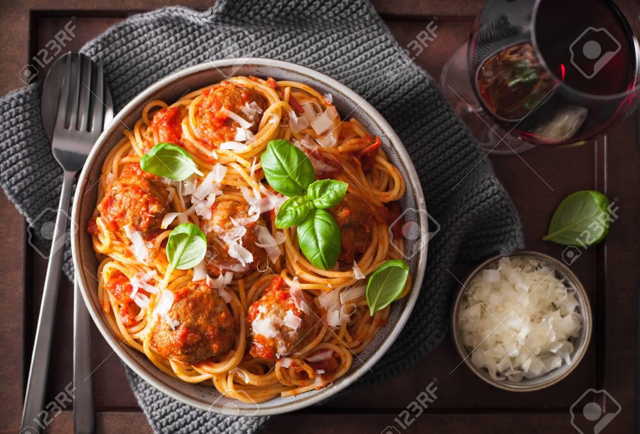 spaghetti with meatballs and tomato sauce, italian pasta - 99688593