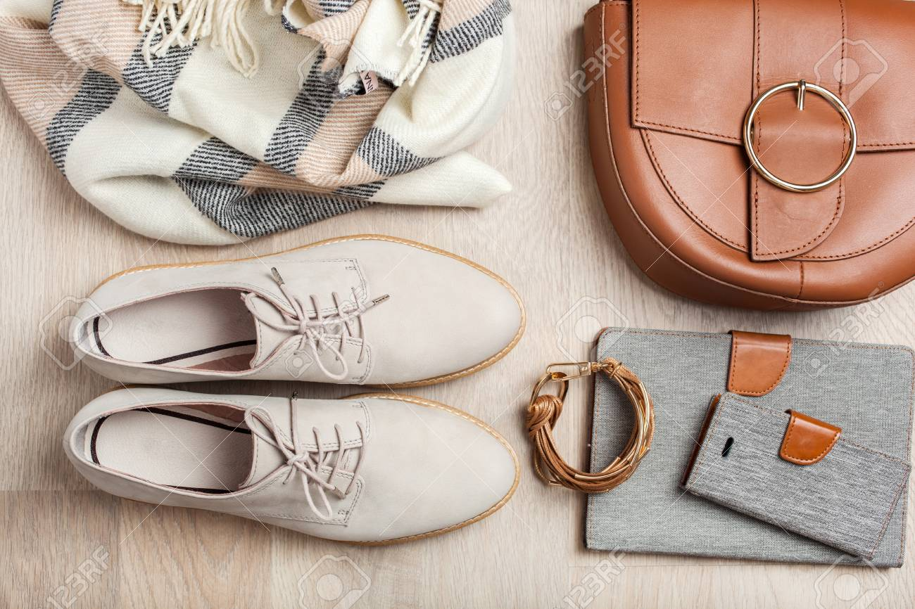 women's flat lay clothes shoes, scarf, bracelet, bag, tablet, smartlphone. Fashion blog, clothing, shopping - 103124495