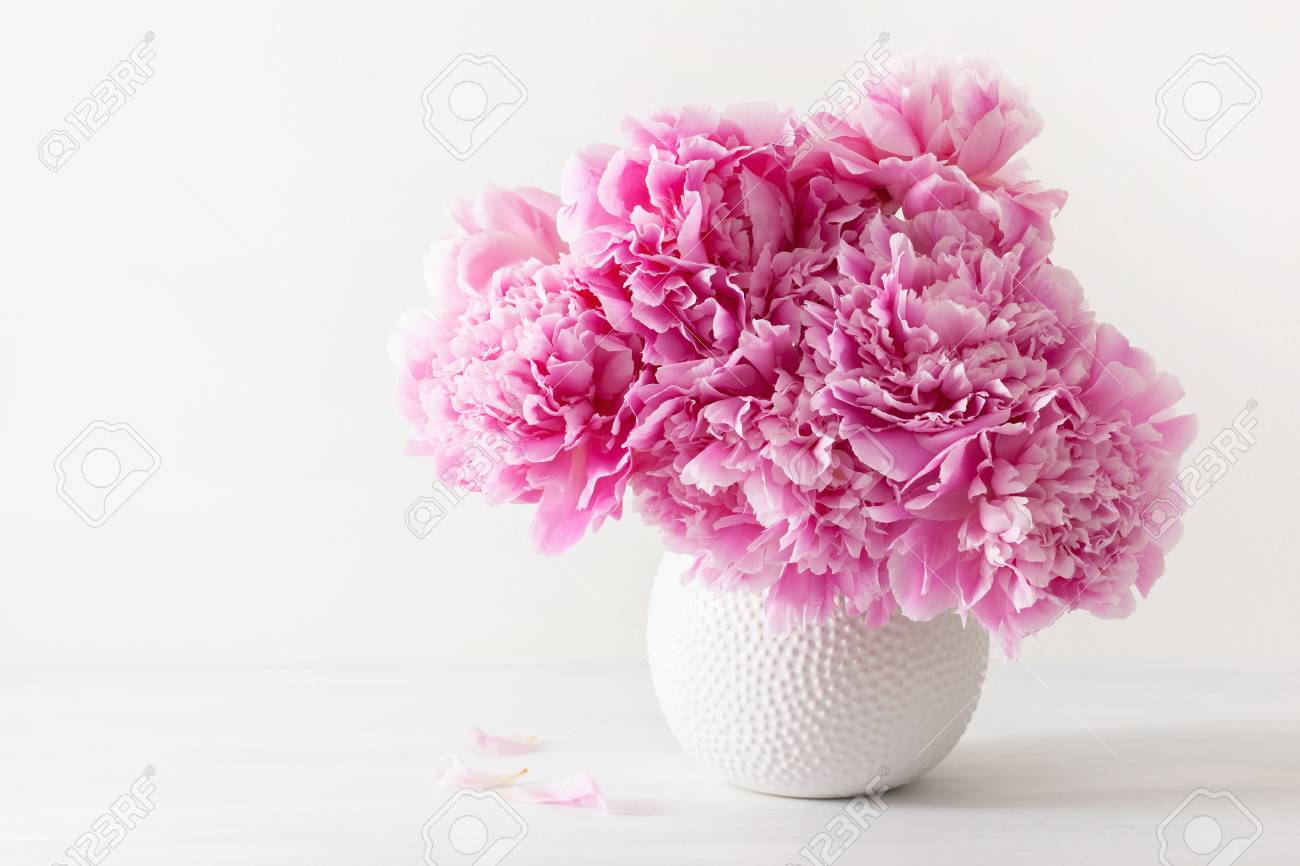 Beautiful Pink Peony Flowers Bouquet In Vase Stock Photo Picture And Royalty Free Image Image 108156880