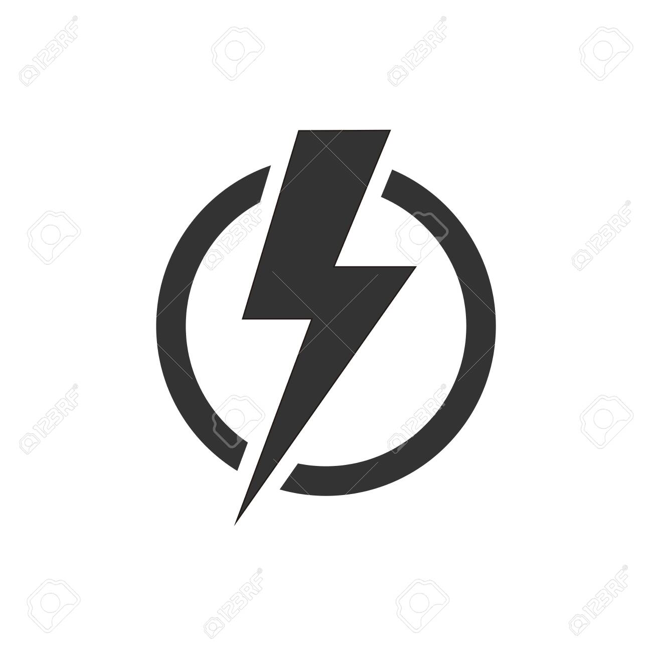 Lightning bolt in the circle graphic icon. Energy sign isolated on white background. Electric power symbol. Lightning bolt icon. - 152393244