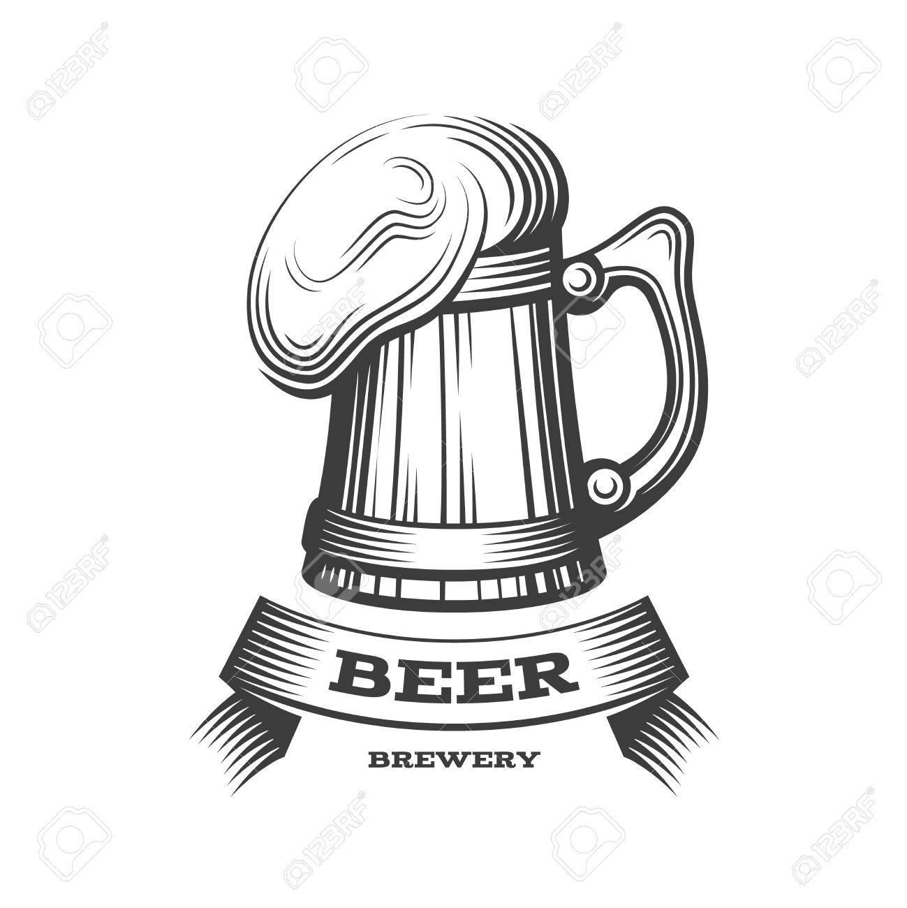 Wooden Beer Mug Logo Vector Illustration Emblem Brewery Design Royalty Free Cliparts Vectors And Stock Illustration Image 80709873