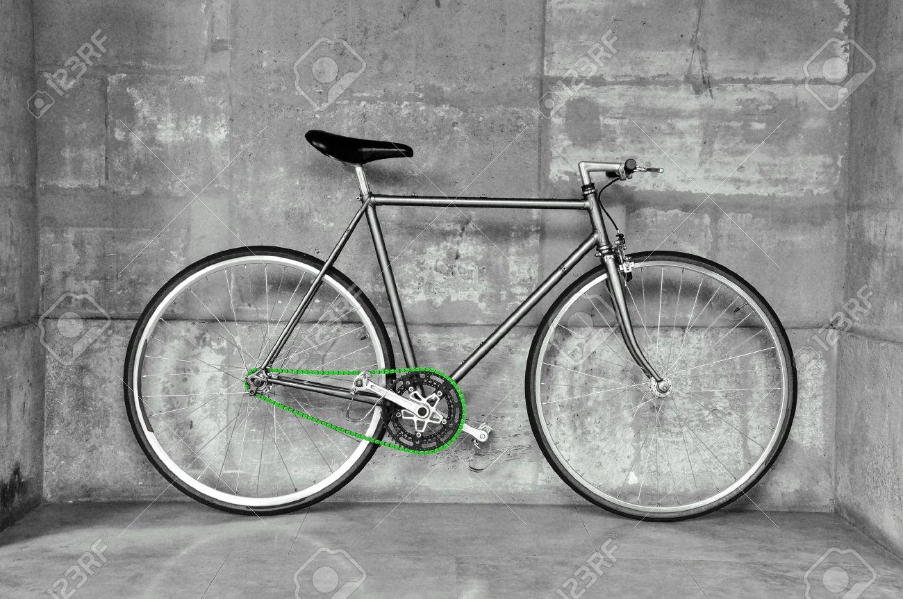 Vintage fixed gear fiets, zwart wit foto, groene ketting royalty ...