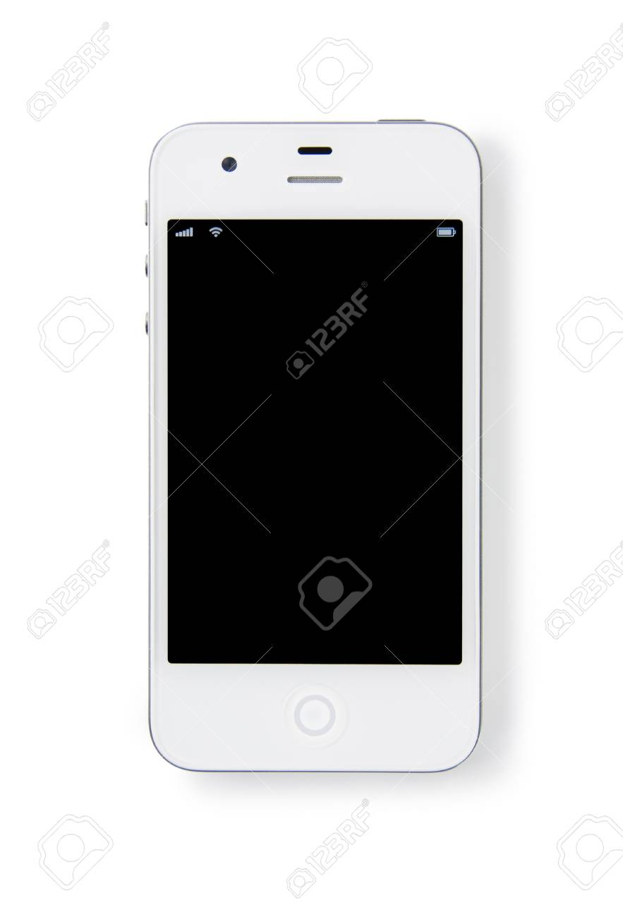 A modern white smartphone on white background Stock Photo - 12682073