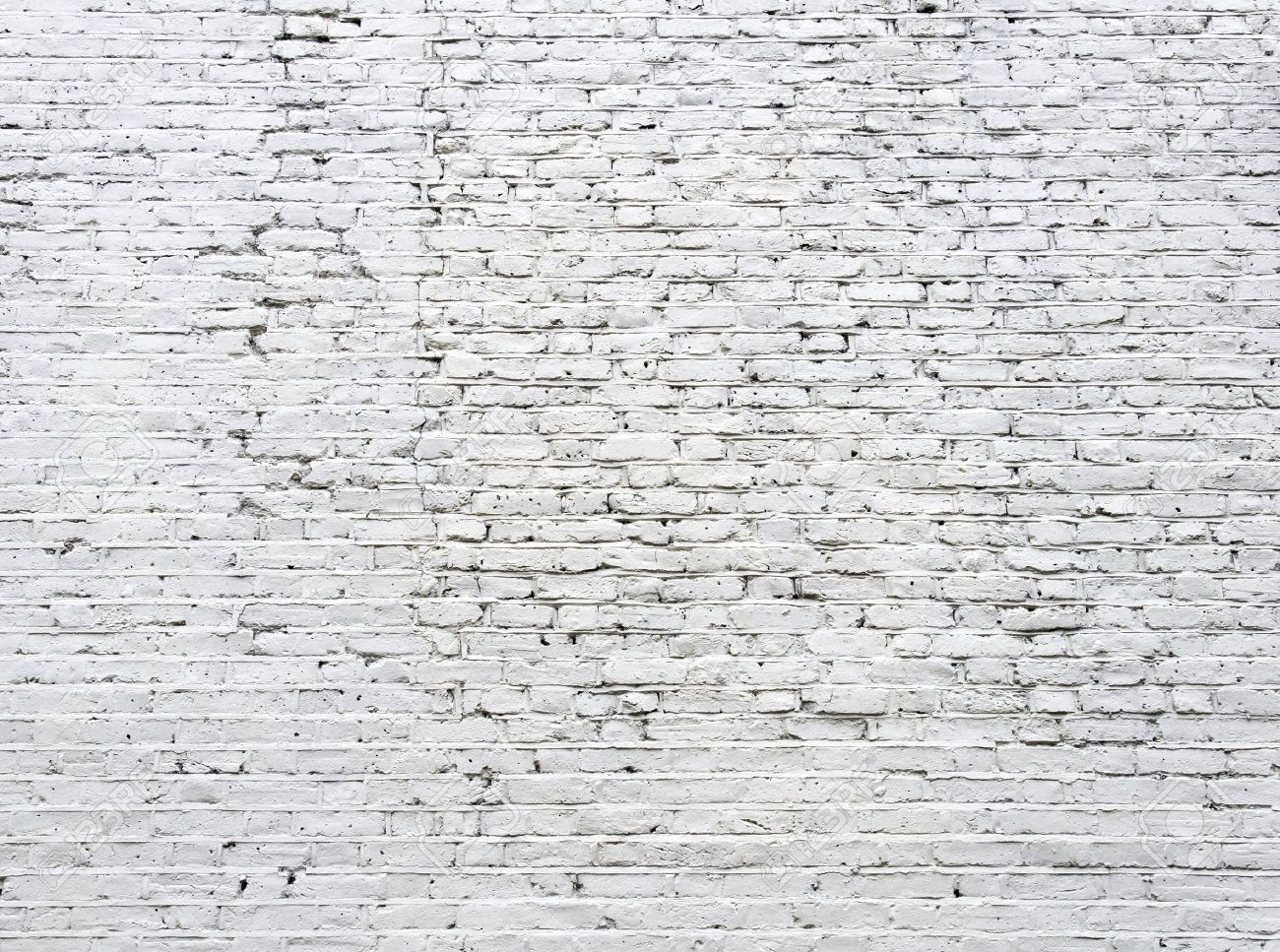 Cracked White Brick Wall Background Stock Photo