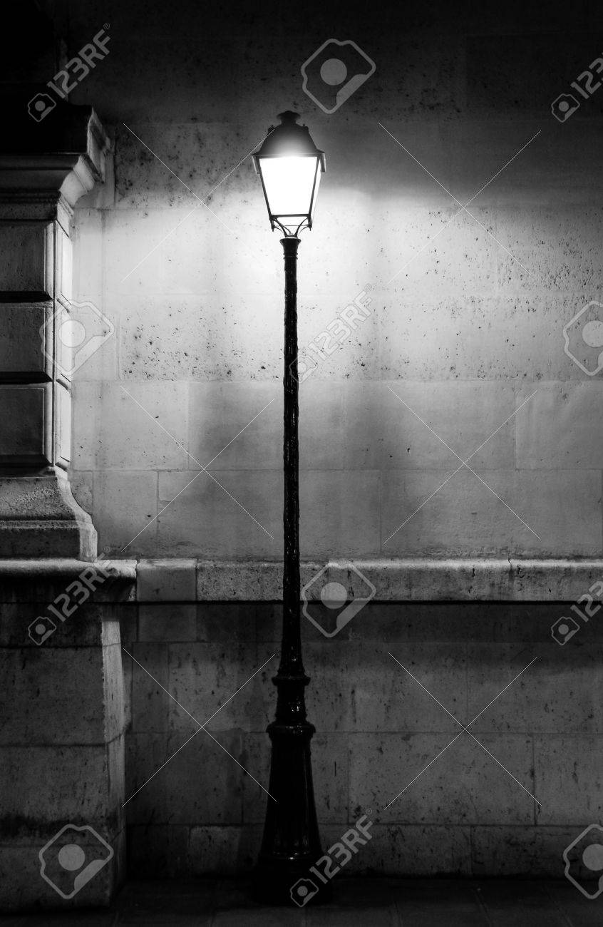 Stock photo vintage lamp post in paris black and white photography