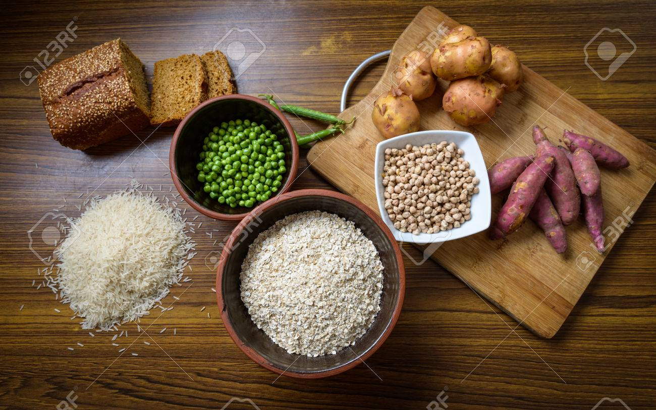 Food ingredient on wooden kitchen table - 59014099