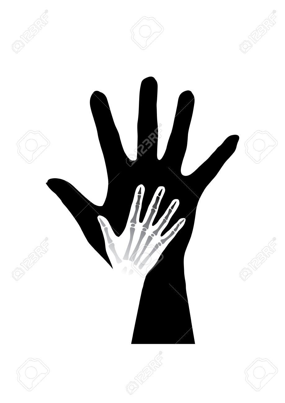 Stylized Hands Anatomy. Black And White Illustration Royalty Free ...