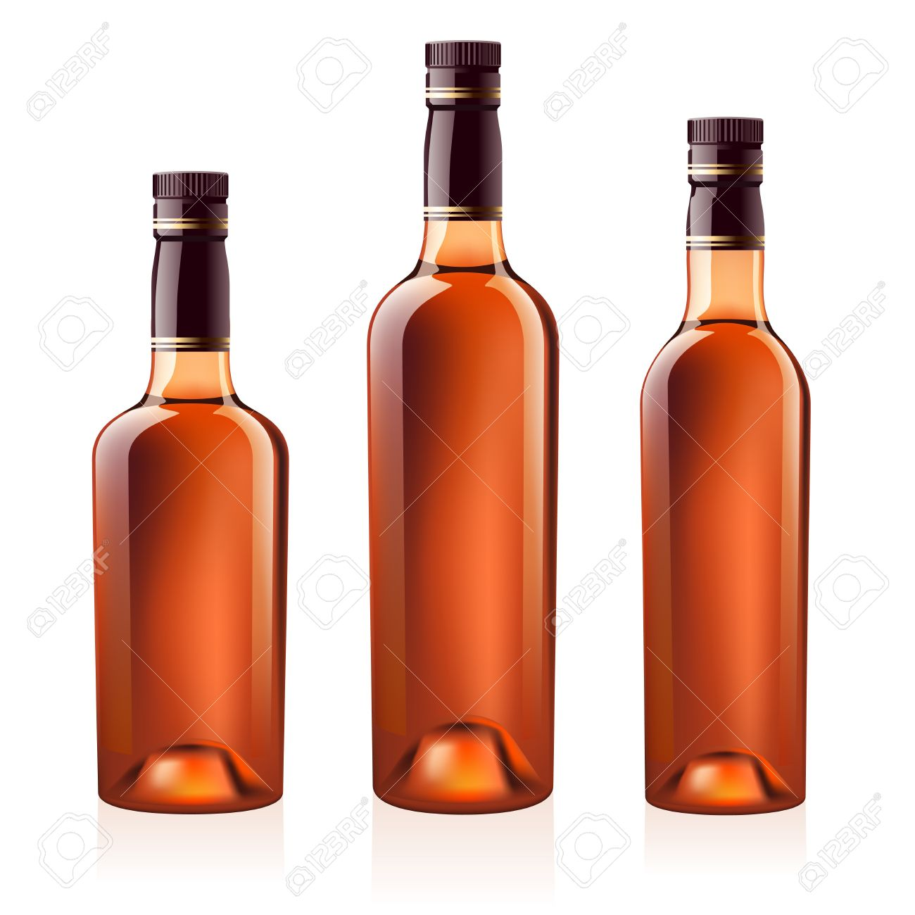 Realistic  bottles of cognac (brandy). Isolated on white background Stock Vector - 7570828