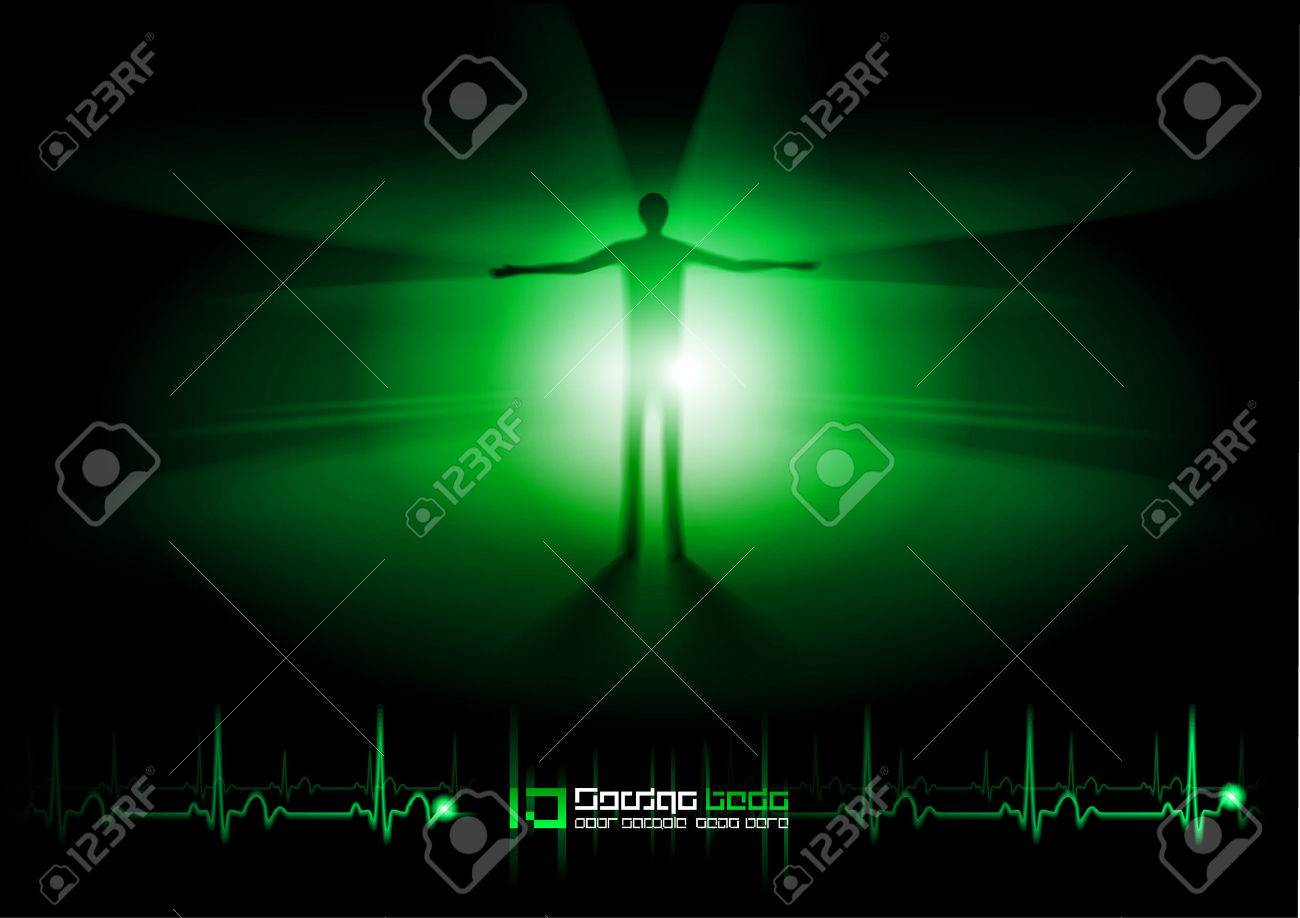 Looking through the tunnel after death and decease. Green design. Stock Vector - 8211922