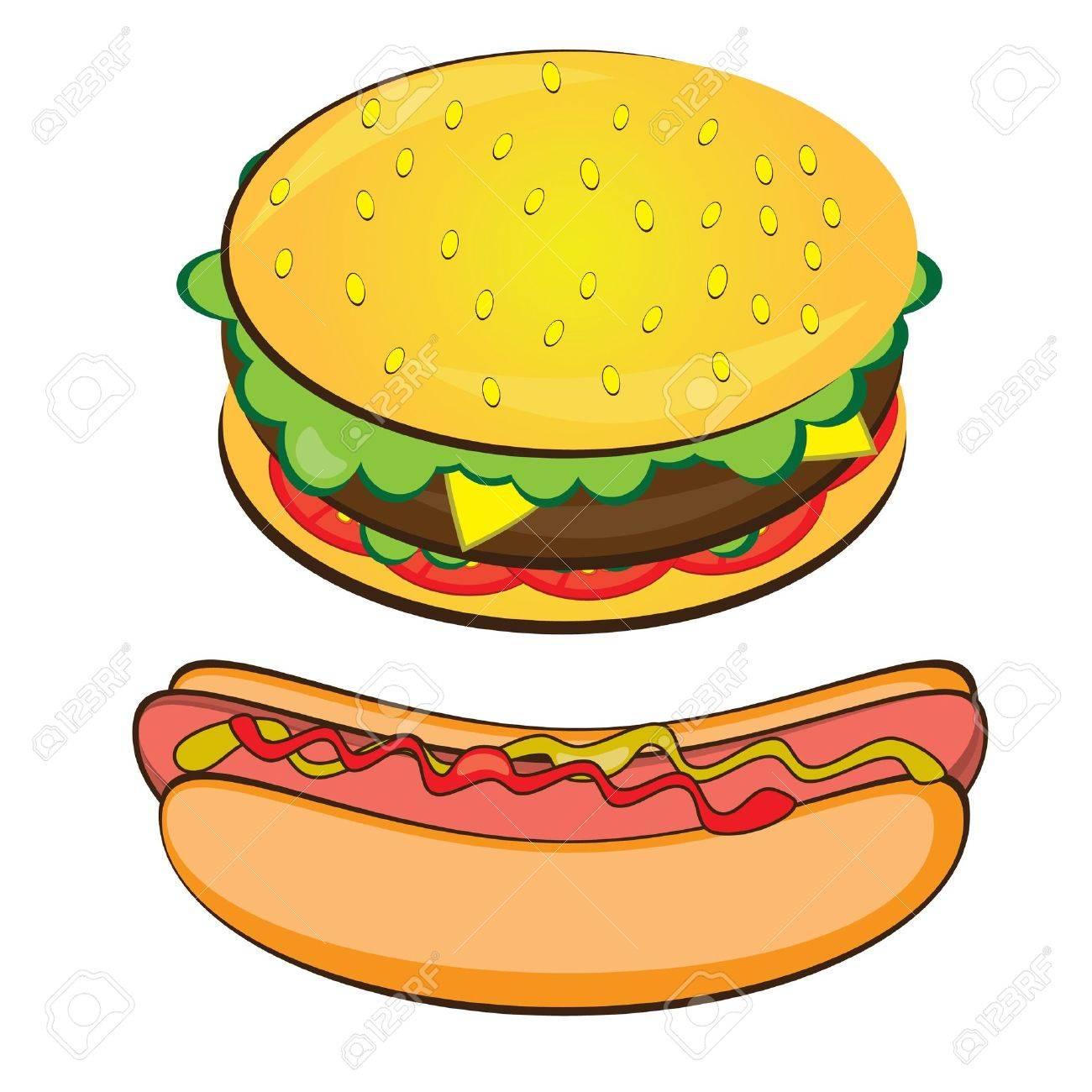 Hamburgers And Hotdogs Clipart 8889966-Appetizing-Hotdog-and-
