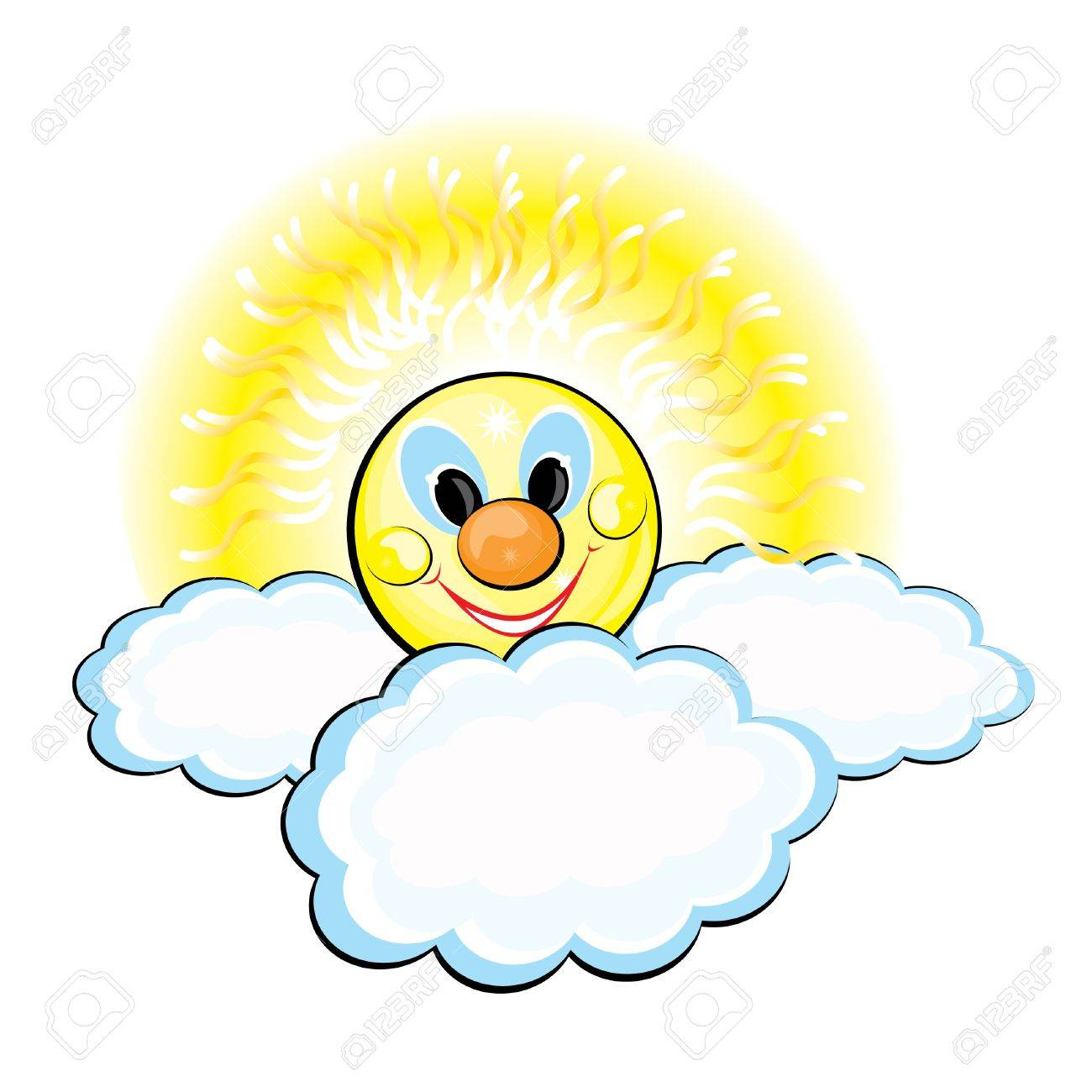Sun and Clouds. Illustration on white background Stock Vector - 9081114