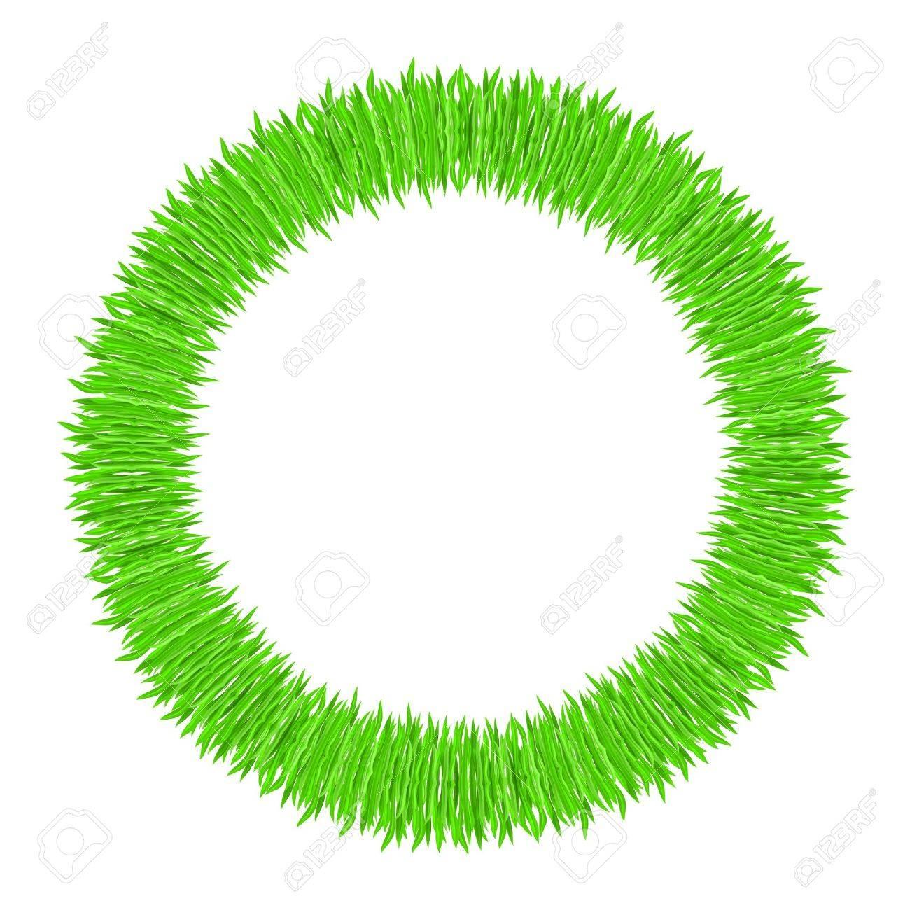 Vector illustration of grass frame. Green ring Stock Vector - 9231565