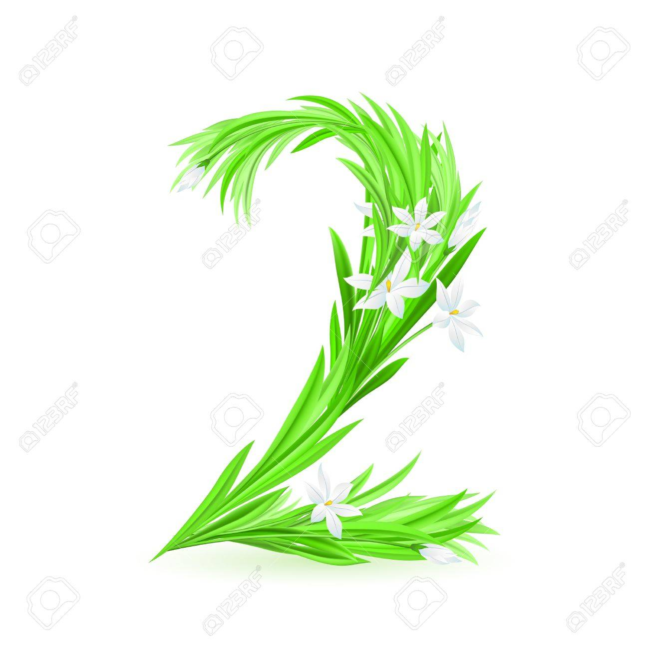 One alphabet symbol of spring flowers  - digit two. Illustration on white background Stock Vector - 9262078