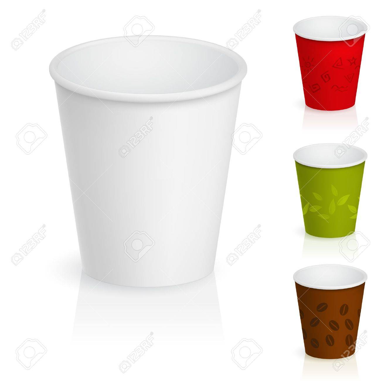 Set of empty cardboard coffee cups. Illustration on white background Stock Vector - 9736729