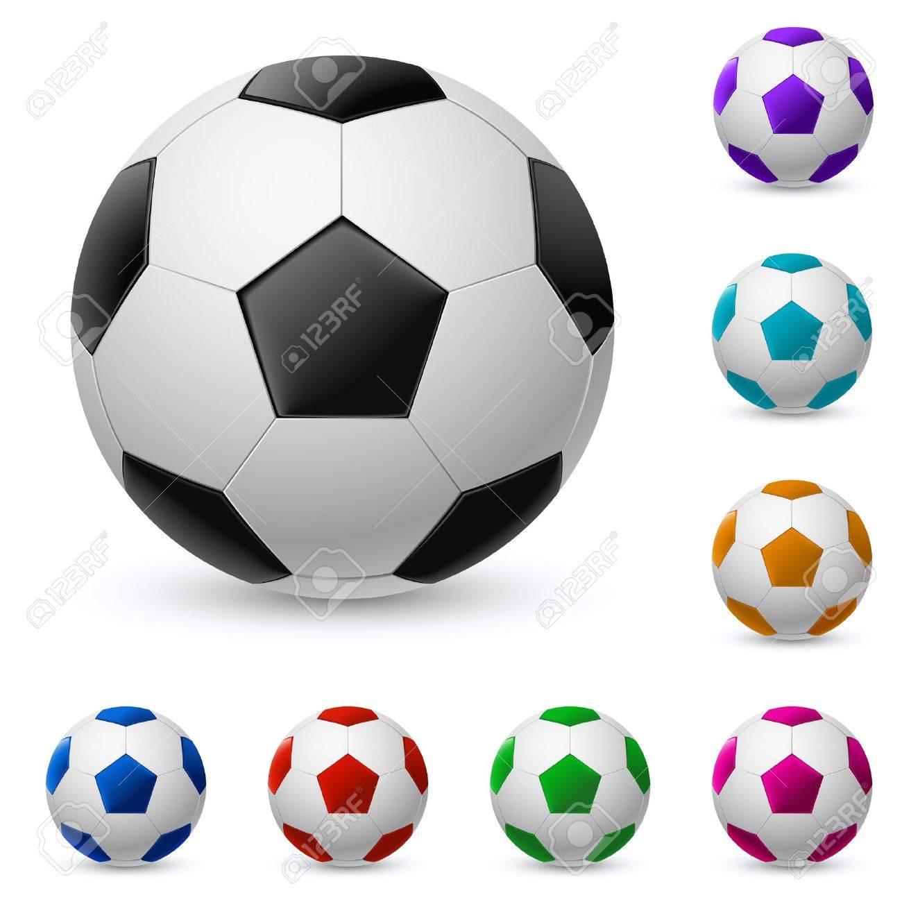 Balón de fútbol realista en diferentes colores. Ilustración sobre fondo  blanco Foto de archivo - e131b4b9894d7