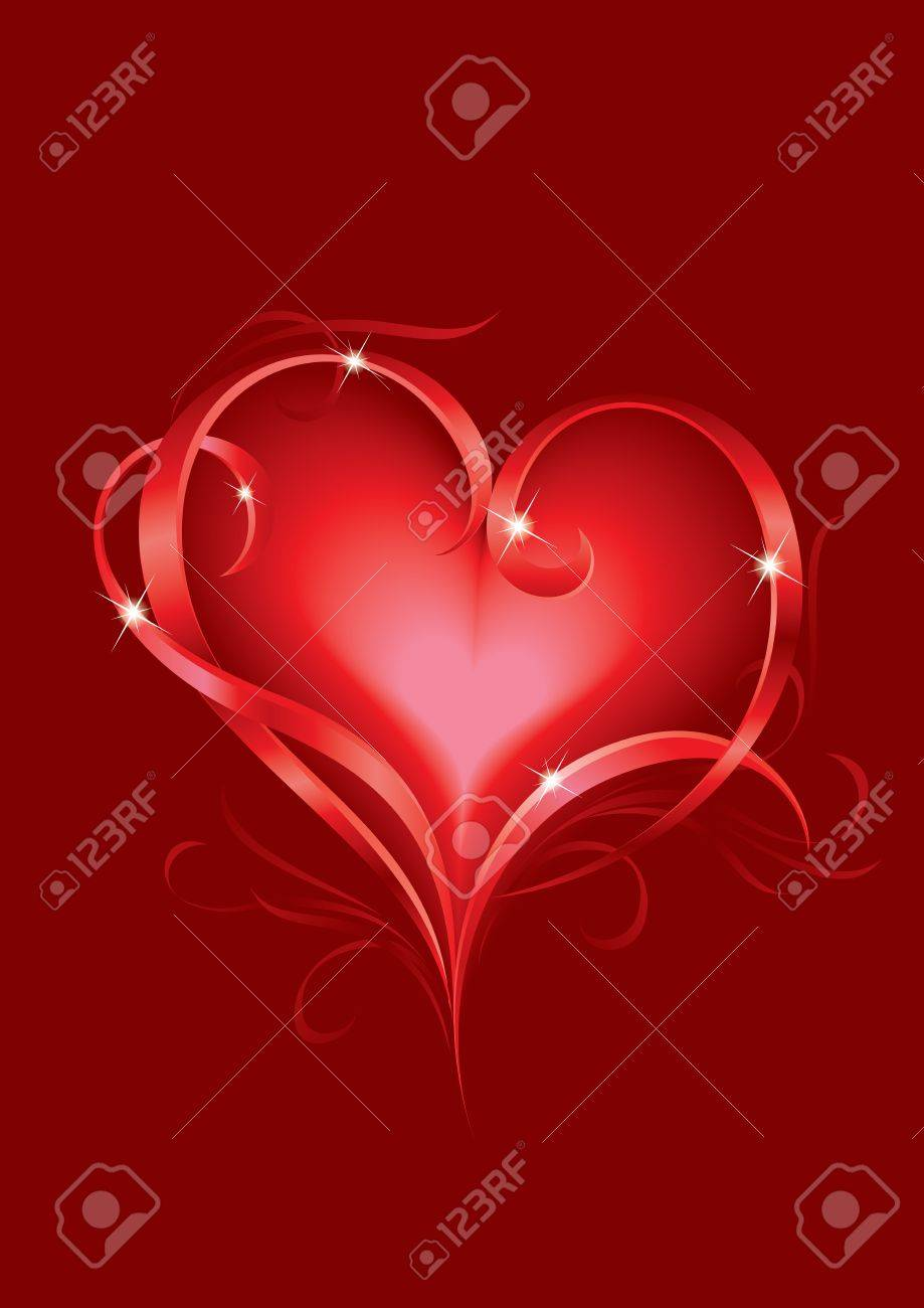 Valentine's day greeting card with abstract Hearts Stock Vector - 9892392