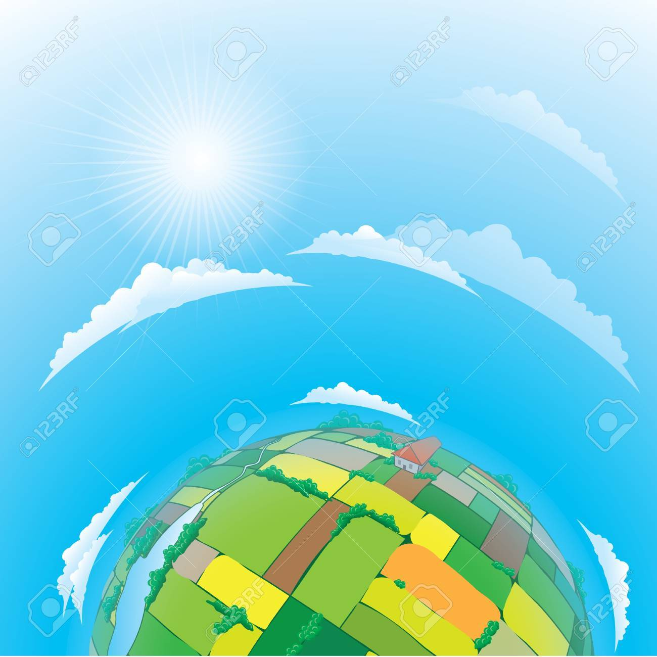 illustration of earth globe with agricultural fields Stock Vector - 9892475