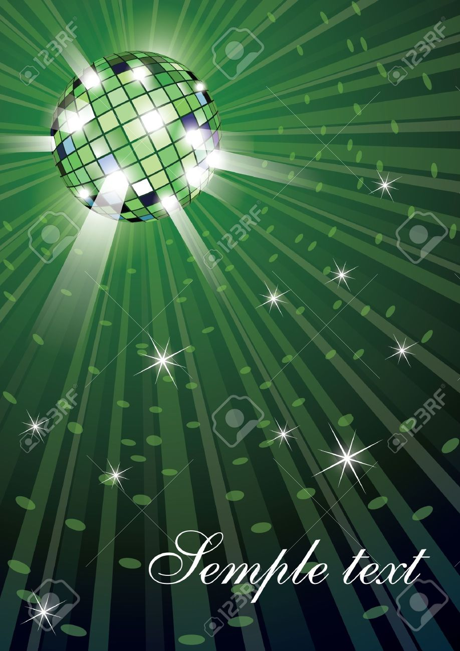 illustration of mirror disco ball on green background Stock Vector - 9892474