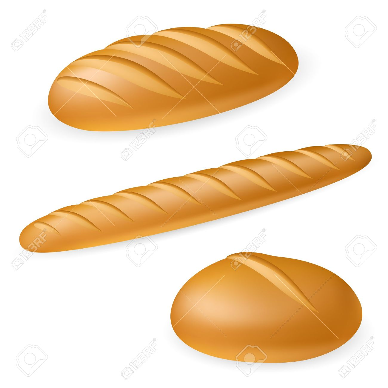 Three realistic bread. Illustration on white background Stock Vector - 10025411