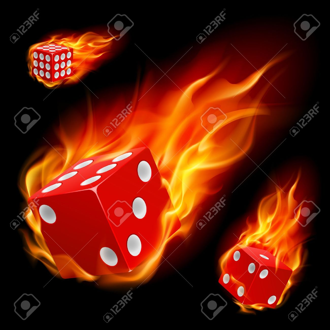 Dice in fire. Illustration on black background Stock Vector - 10083096