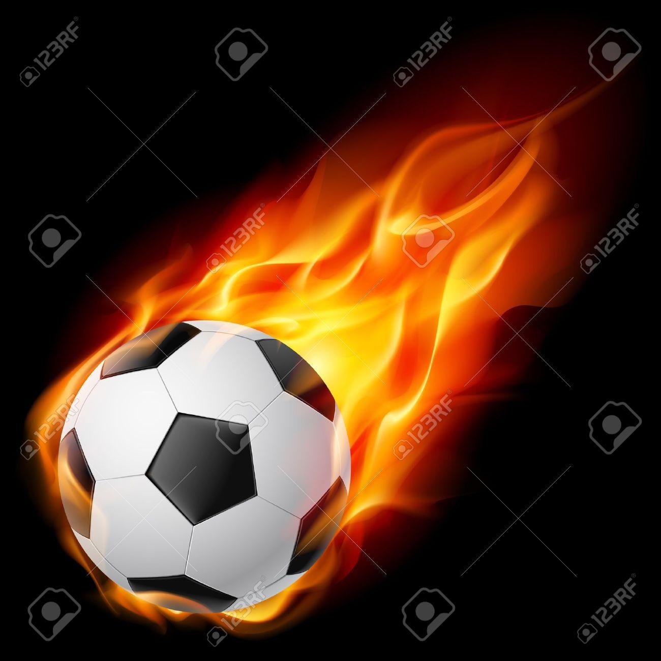 Soccer Ball on Fire. Illustration on black background Stock Vector - 10083098