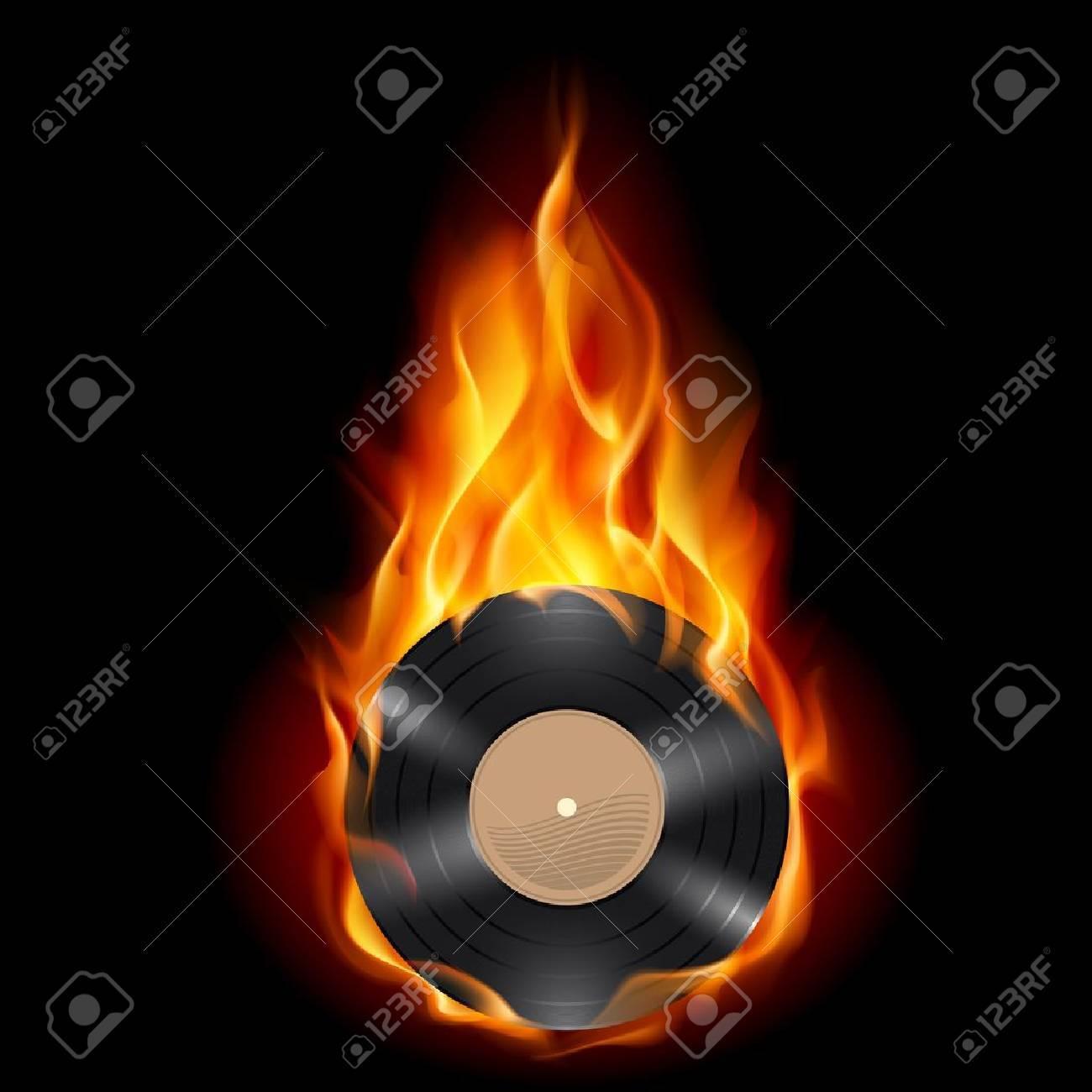 Vinyl record burning symbol. Illustration on black background Stock Vector - 10083108