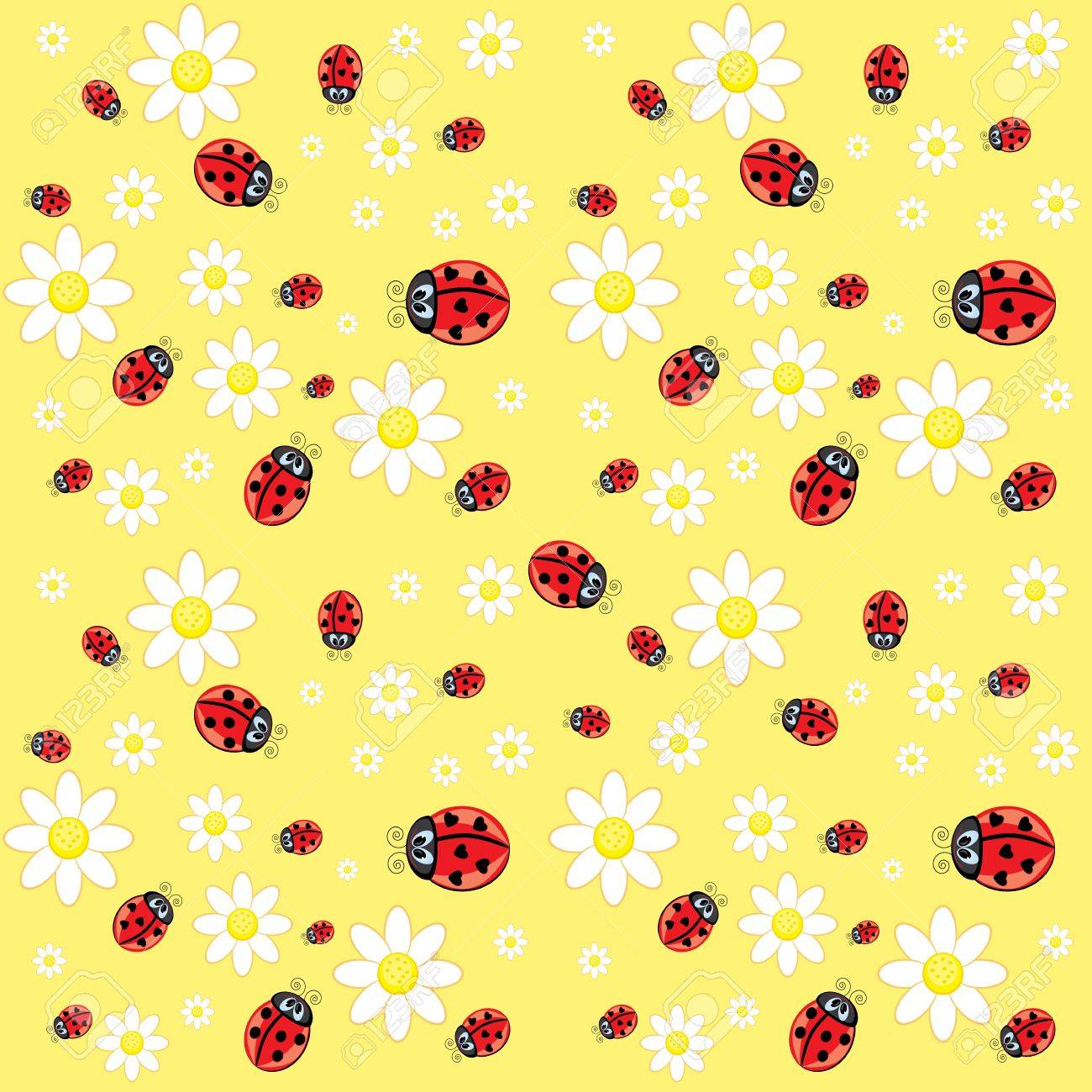 Seamless ladybug pattern. Illustration of a designer on a yellow background Stock Vector - 10273340