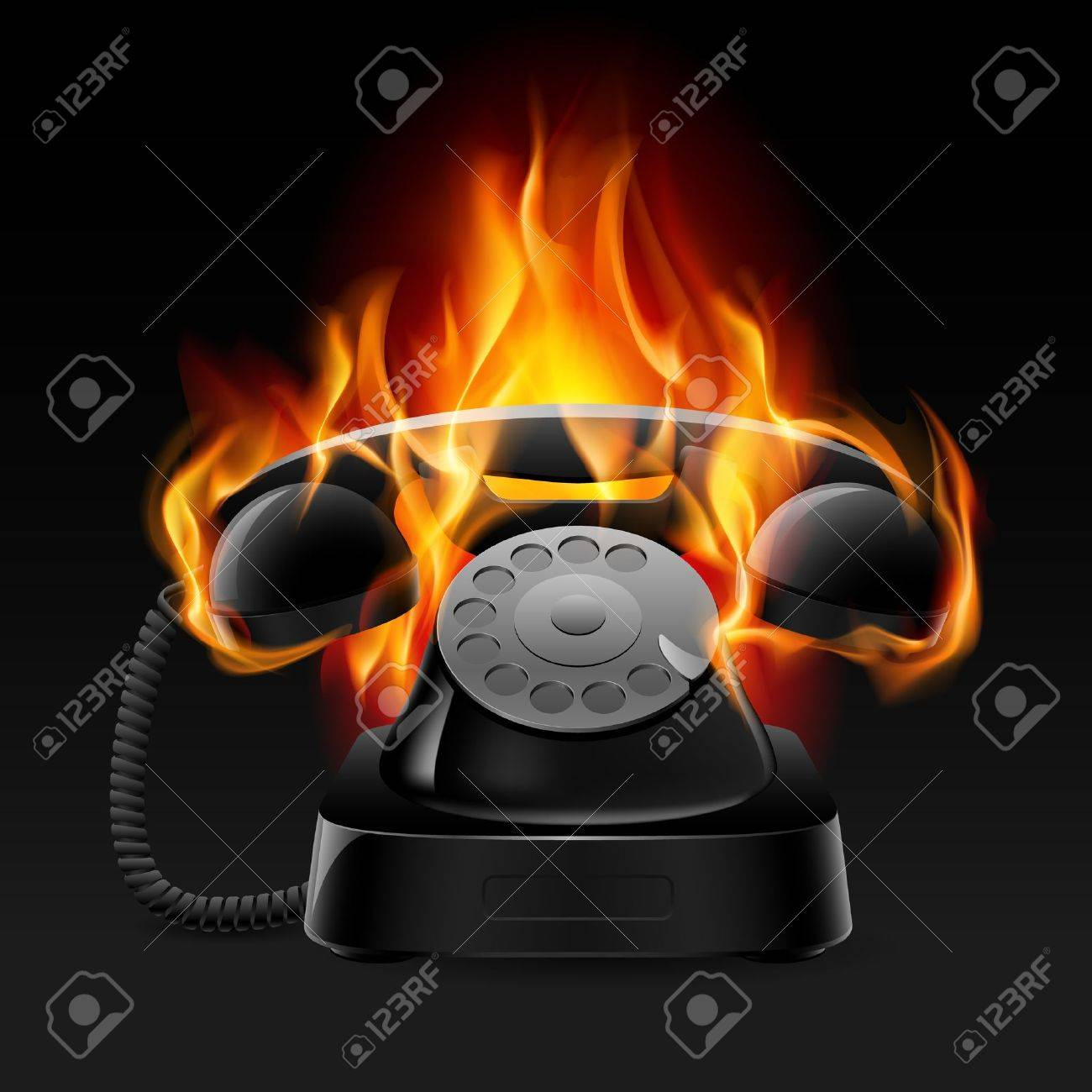 Realistic fire retro phone. Illustration of the designer on a black background - 10289367