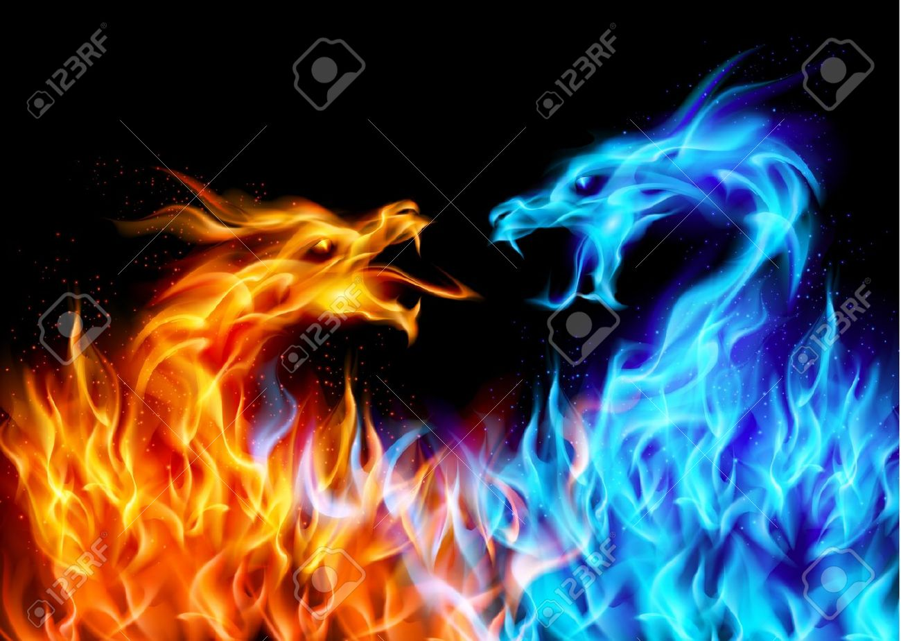 Abstract blue and red fiery dragons. Illustration on black background for design Stock Vector - 10549211