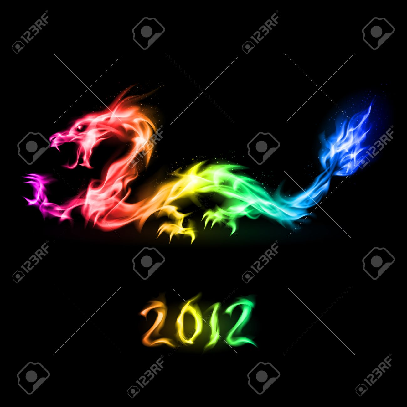 Abstract fiery rainbow dragon. Illustration on black background for design Stock Vector - 10620649