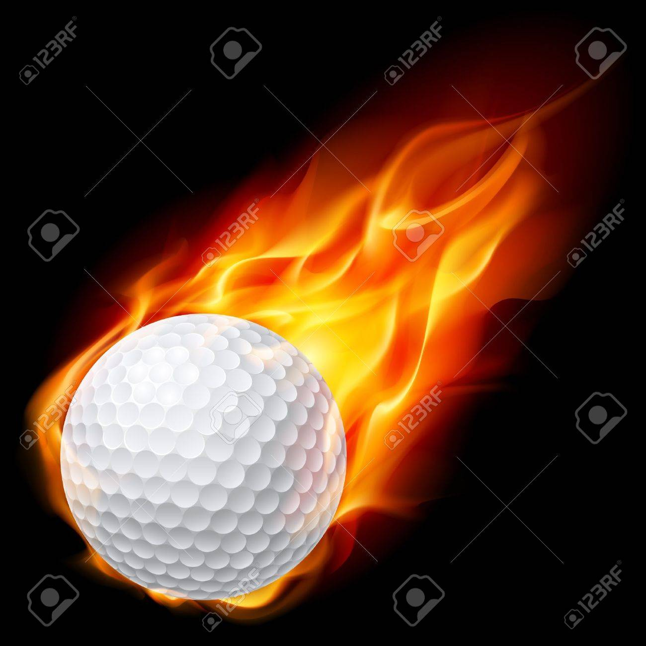 Golf Ball On Fire Illustration On Black Background Royalty Free Cliparts Vectors And Stock Illustration Image 10620647