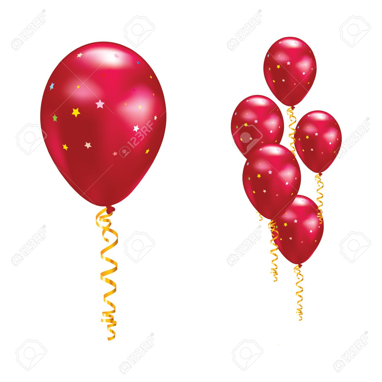 Red balloons with stars and ribbons. Vector illustration. Stock Vector - 10661896