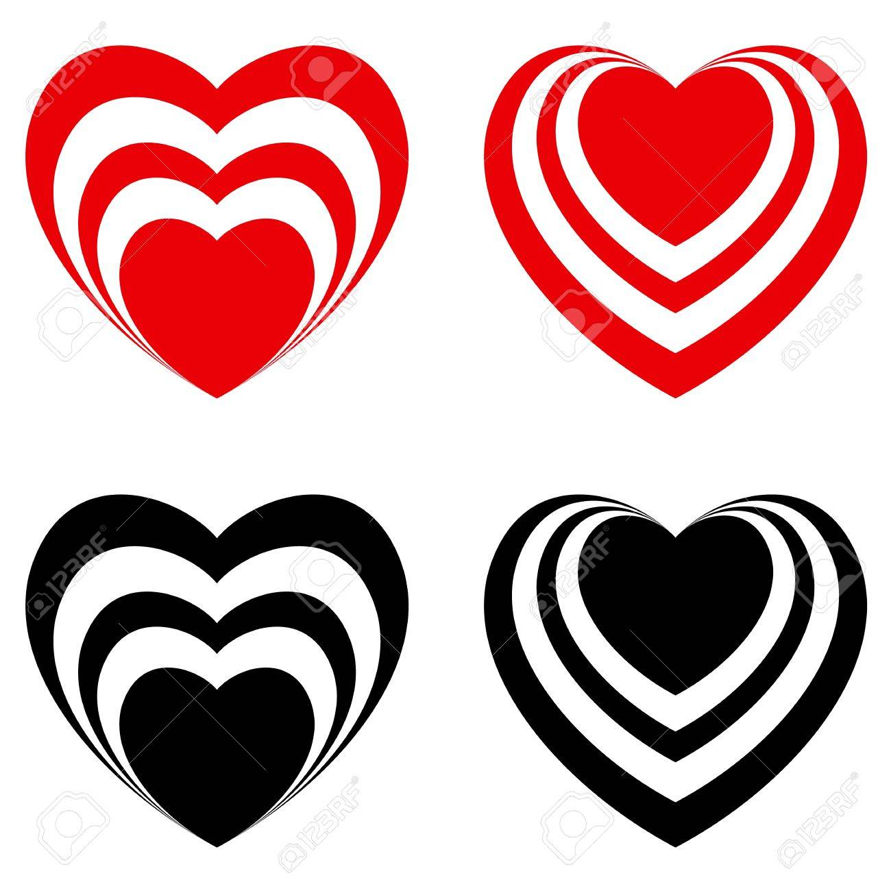 Abstract Valentine heart set, love symbol. Illustration on white Stock Vector - 10694399
