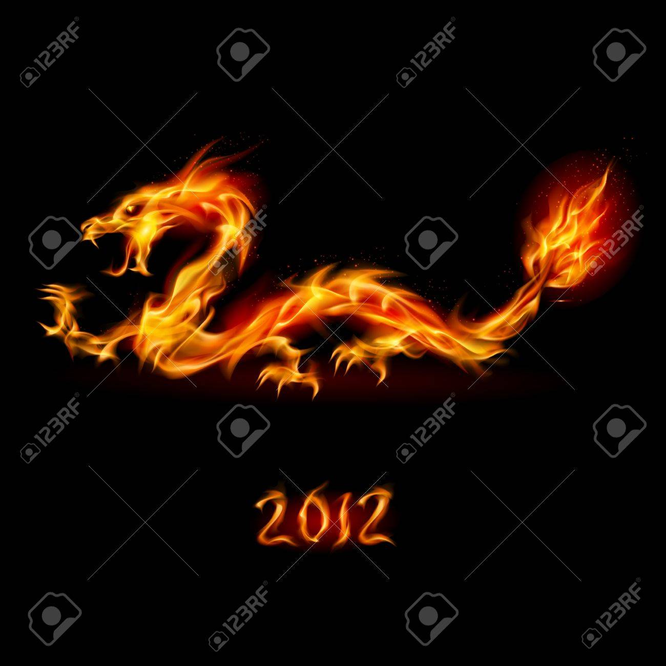 Abstract fiery dragon. Illustration on white background for design Stock Illustration - 10694410