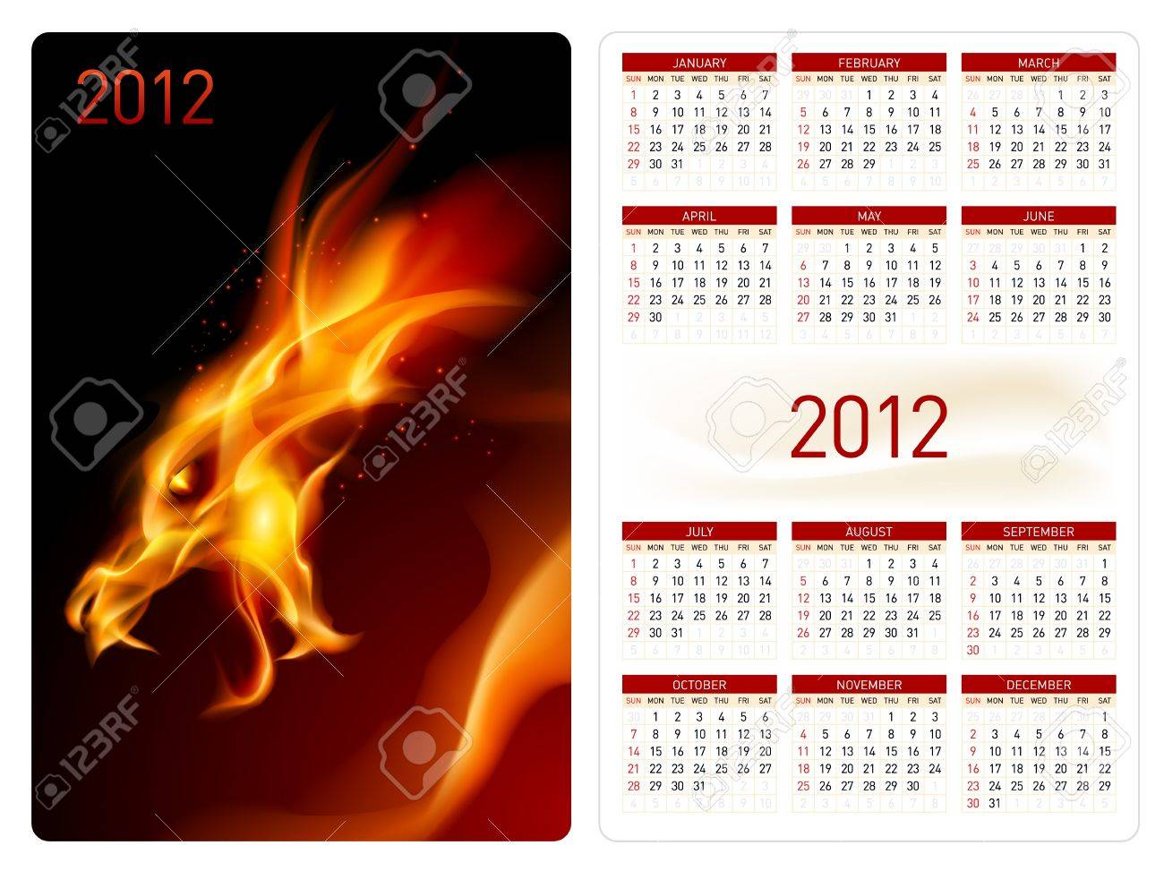 Calendar twenty twelve template. Red Dragon. Illustration for design Stock Vector - 10719286