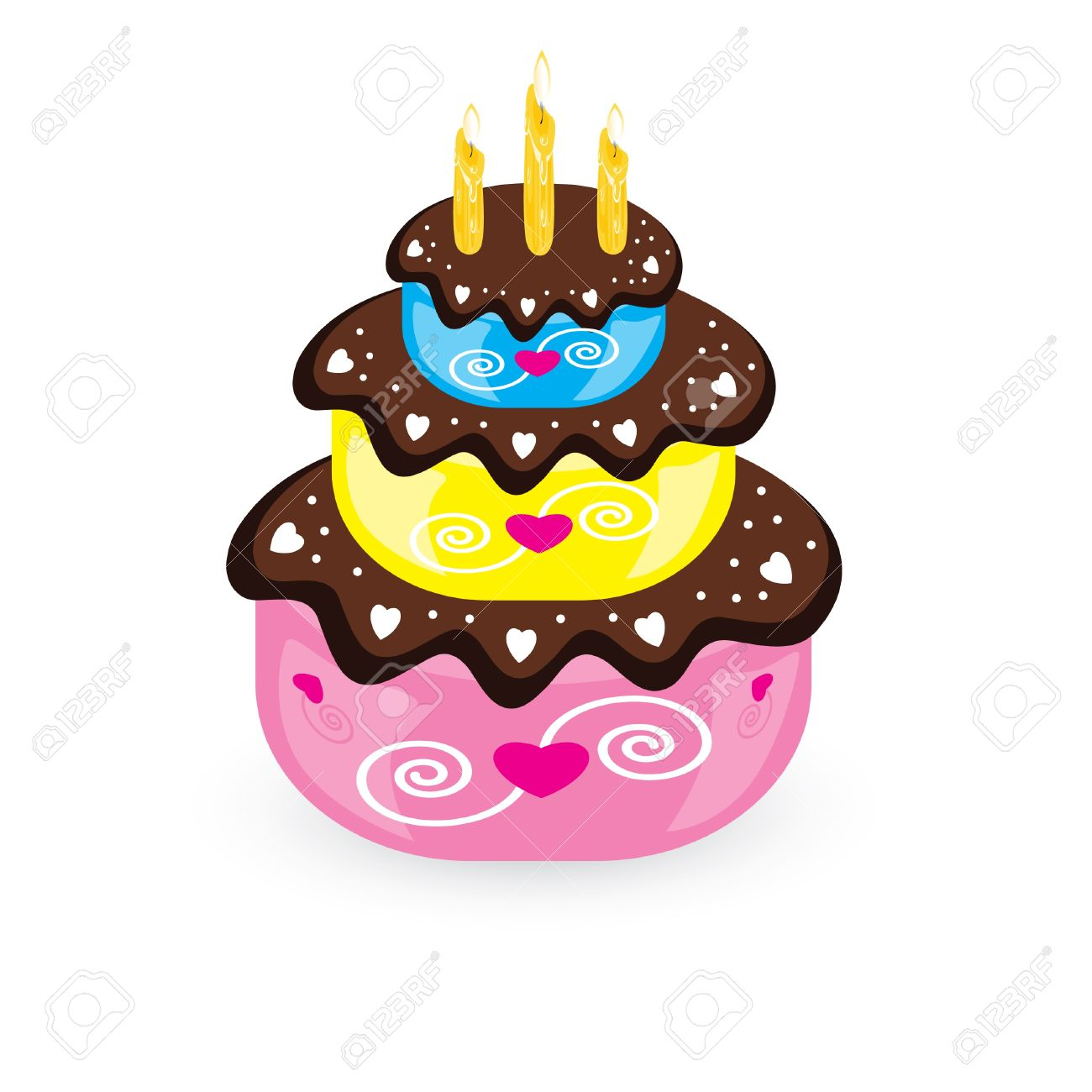 Birthday Cake And Candle Illustration On White Background Royalty Free Cliparts Vectors And Stock Illustration Image 10719290