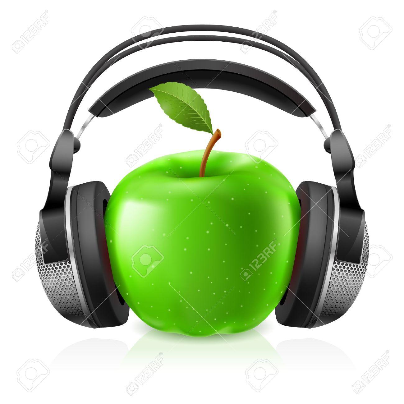 Realistische Kopfhörer Und Grünem Apfel. Illustration Auf Weißem ...