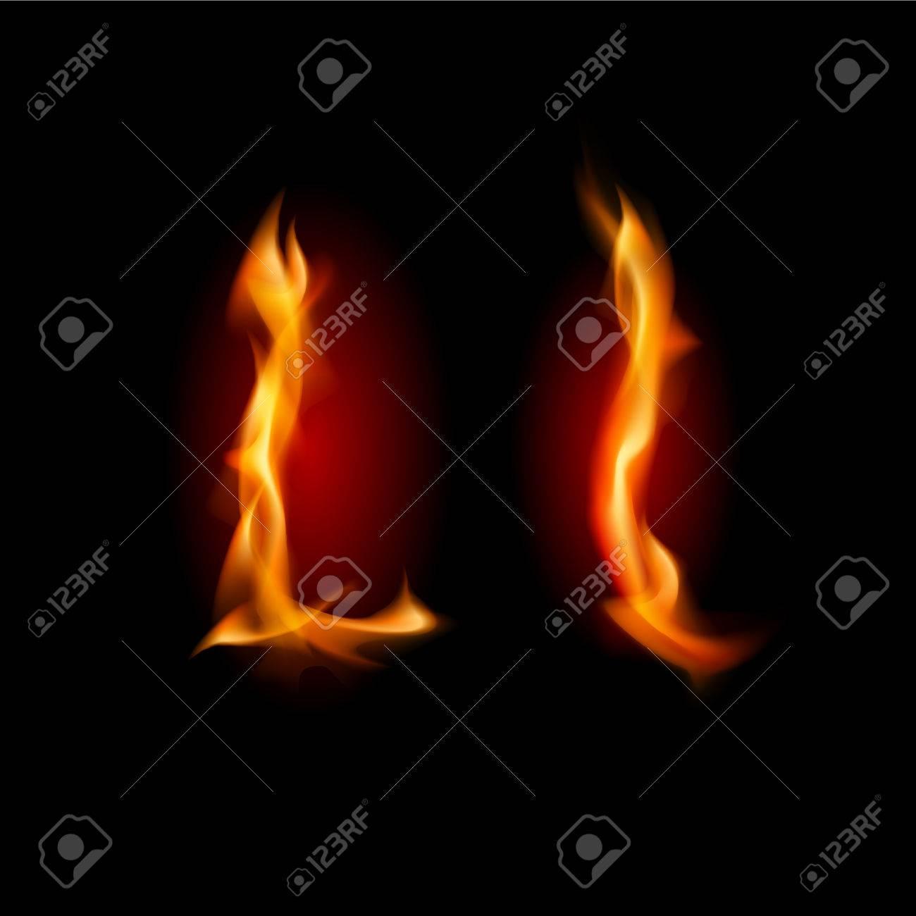 Fiery font. Letter L. Illustration on black background Stock Vector - 11350934