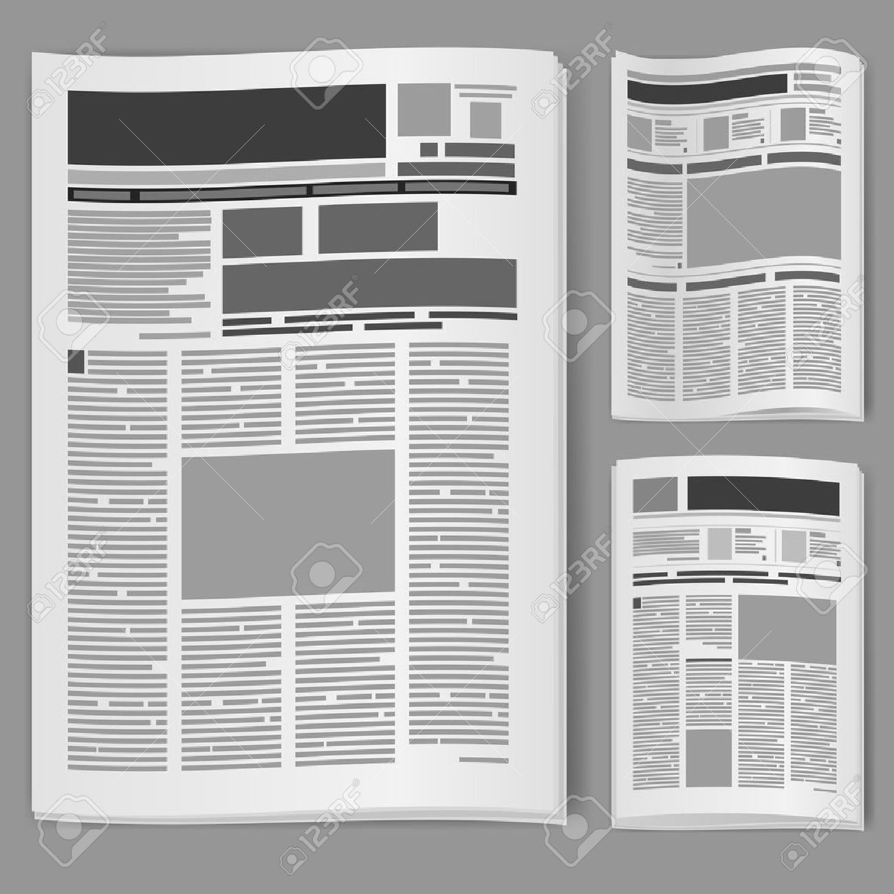Set number two newspaper. Illustration on white background. Stock Vector - 11350855