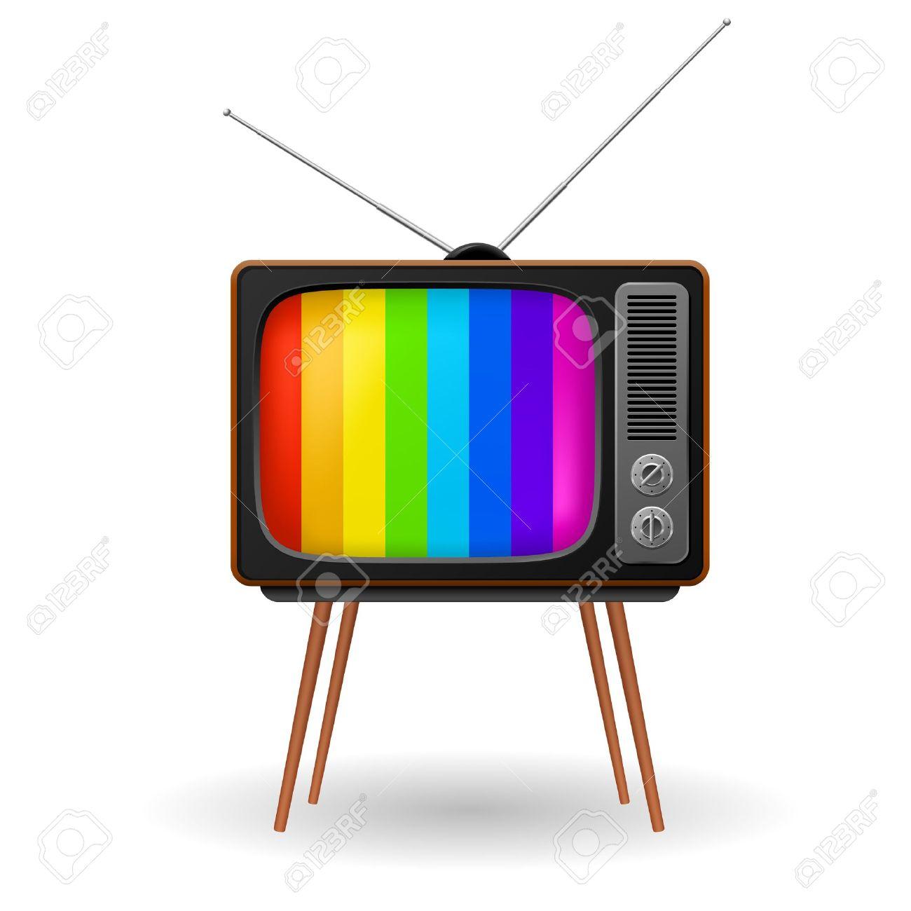 TV Retro Con Marco De Color. Ilustración Sobre Fondo Blanco ...