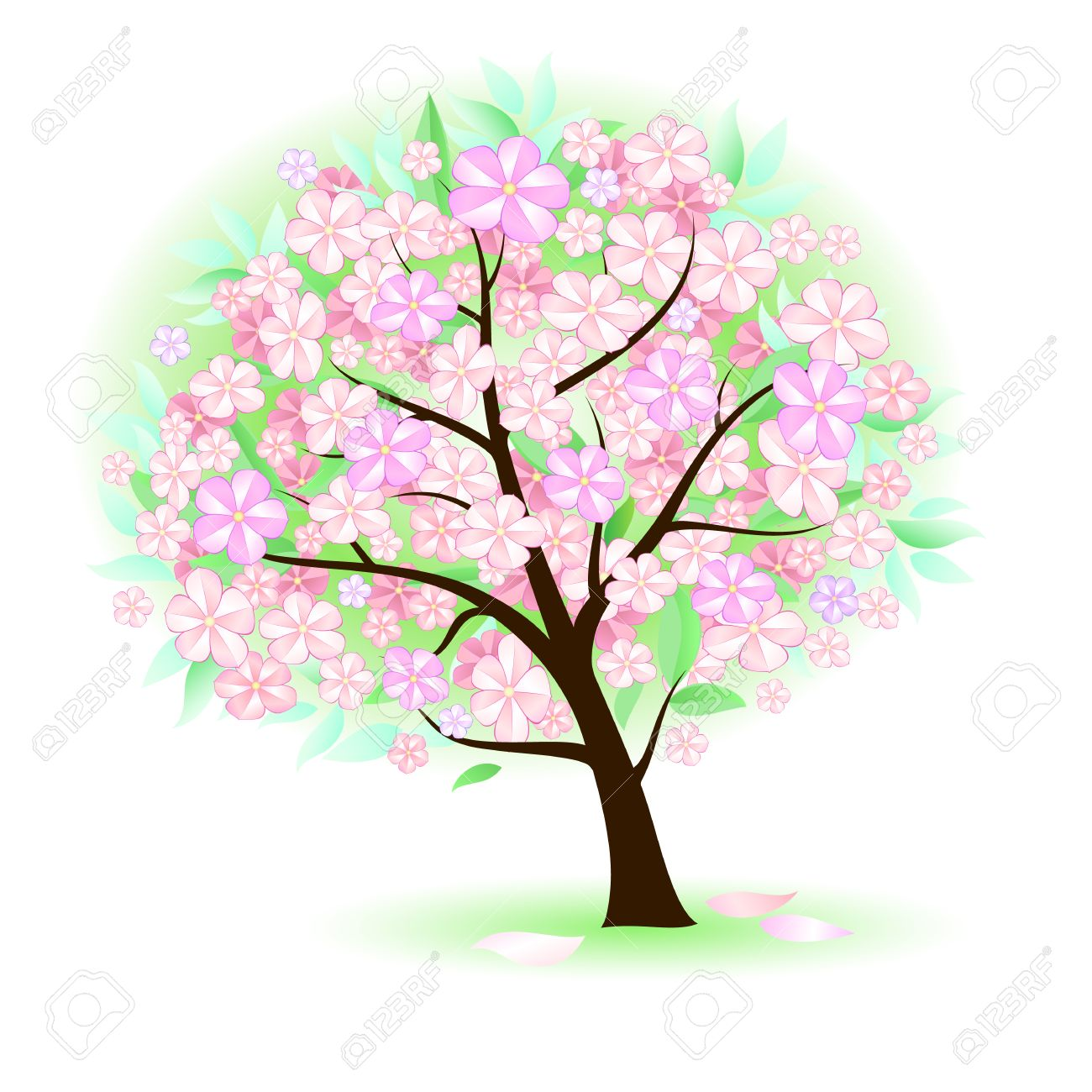 Stylized Tree With Leafs And Big Flowers Illustration On White