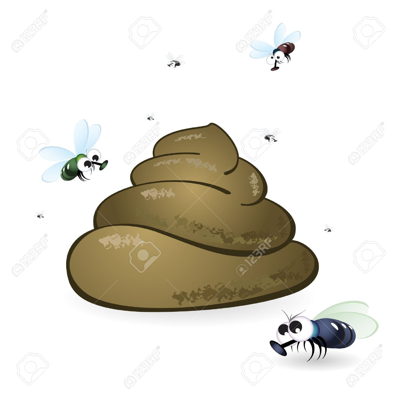 Cartoon feces and flies. Illustration on white background Stock Vector - 11671745