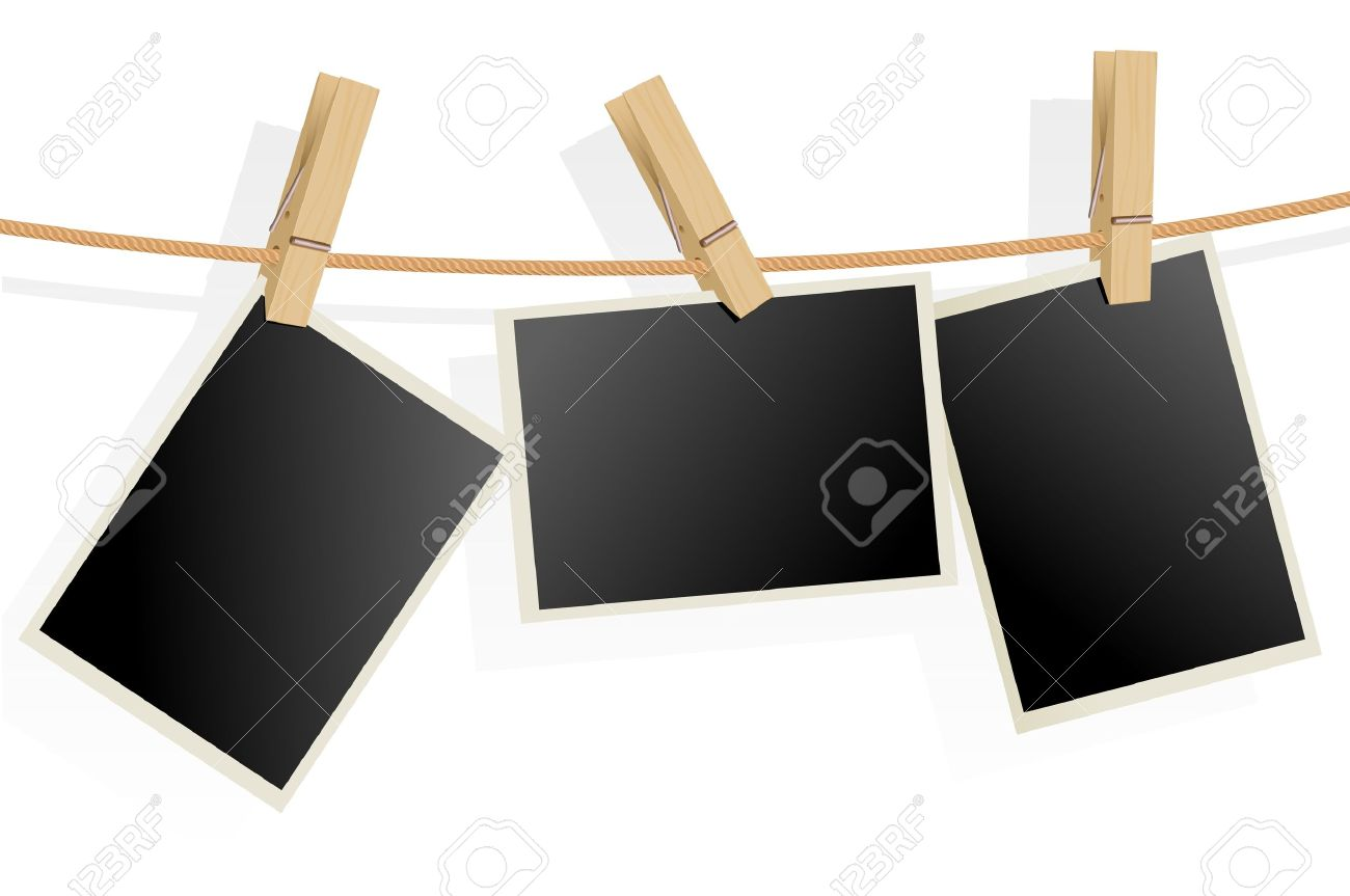 three photo frames on rope illustration on white background stock vector 12490964