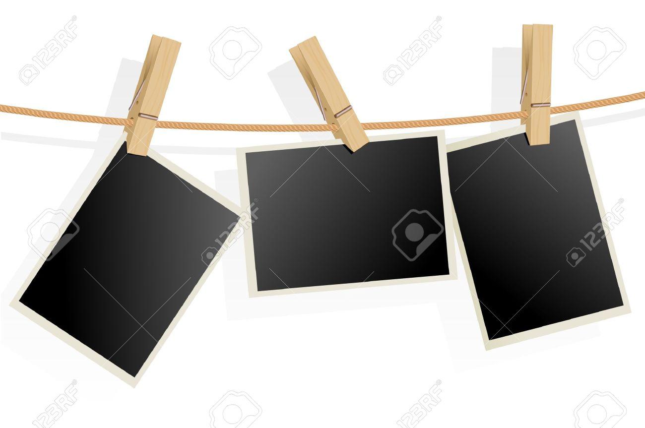 Drei Bilderrahmen Am Seil. Illustration Auf Weißem Hintergrund ...