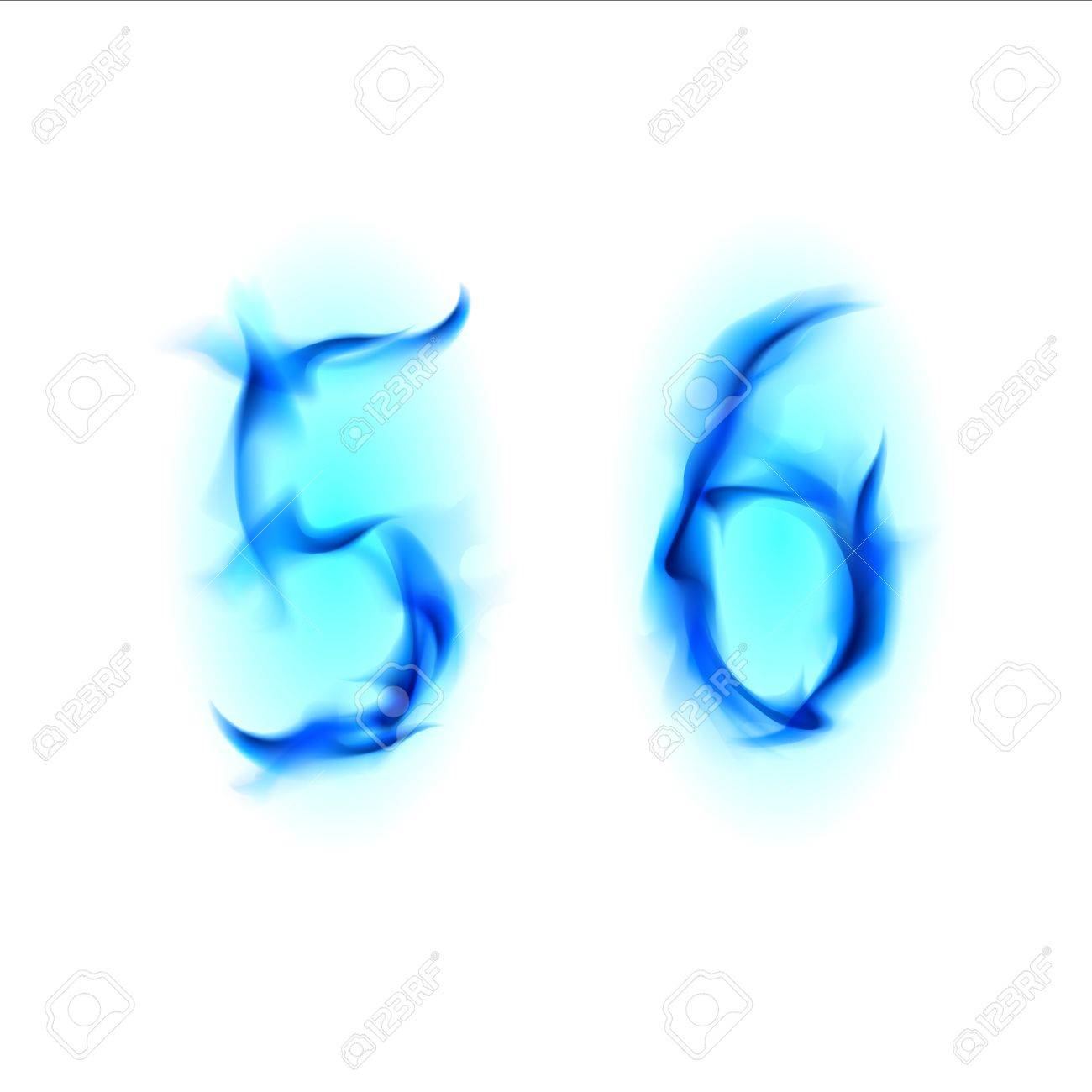 Two Blue Alphabet Symbol Of Fire Numbers Five And Six